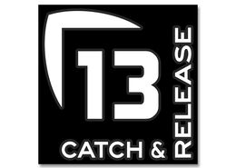 13 Fishing Catch and Release Vinyl Decal - Medium - White