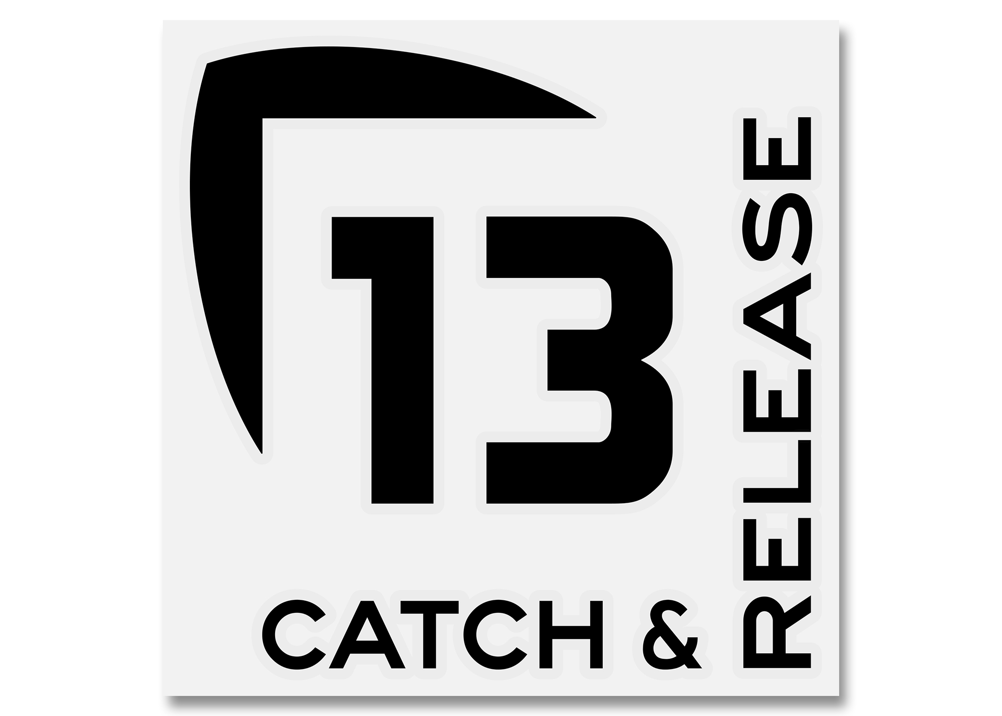 13 Fishing Catch and Release Vinyl Decal - Medium - Black