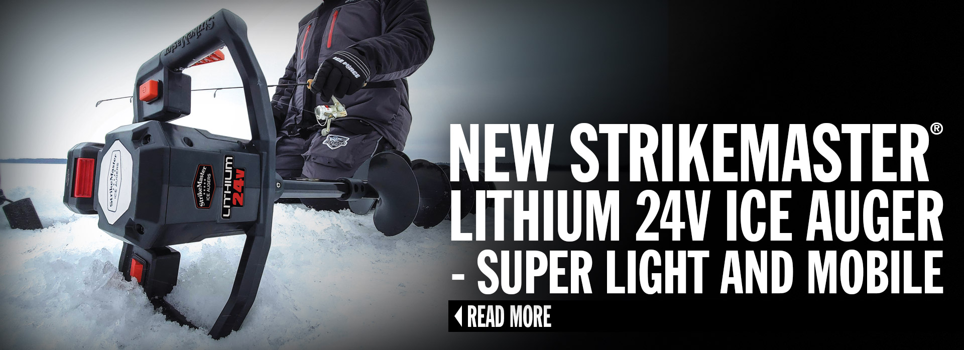 New StrikeMaster® Lithium 24v Ice Auger - Super Light and Mobile
